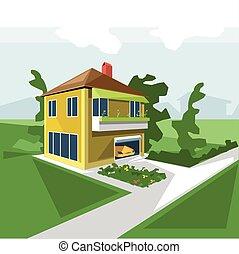 pers, casa, 2, pavimenti, vista