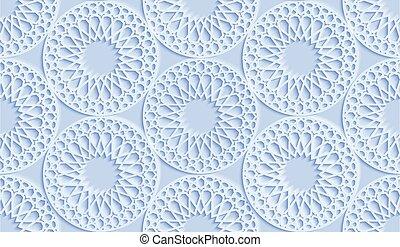 persa, ramadan, azul, pattern., ornamento, motiff., islámico, redondo, 3d, vector, patrón, concept., musulmán