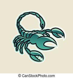 persa, verde, lustroso, escorpião, ícone, vetorial, ilustração