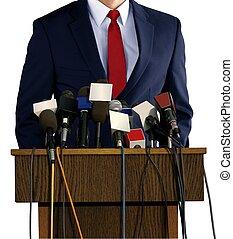 persconferentie, met, spokesperson