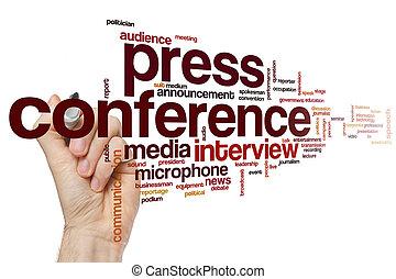 persconferentie, woord, wolk
