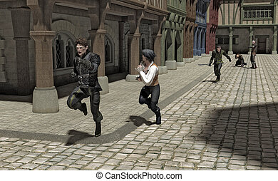 persecución, por, un, medieval, calle