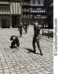perseguição, através, um, medieval, rua