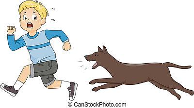 perseguir, perro, niño