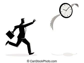perseguir, reloj, hombre de negocios, vuelo