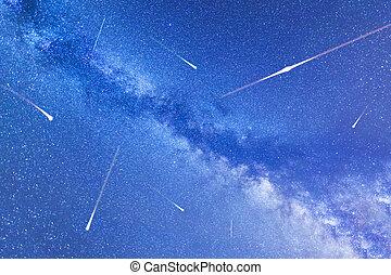 perseid, 大氣現象淋浴, 在, 2016., 落下, stars., 銀河