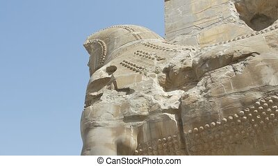 Persepolis Lamassu statues - Xerxes Gate of nations with...