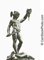 bronze statue of Perseus holding the head of Medusa isolated on white background, Florence, Italy