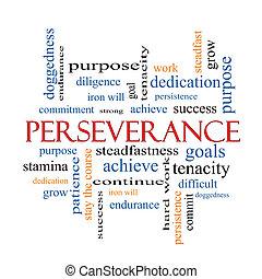 perseverança, conceito, palavra, nuvem
