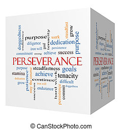 Perseverance 3D cube Word Cloud Concept