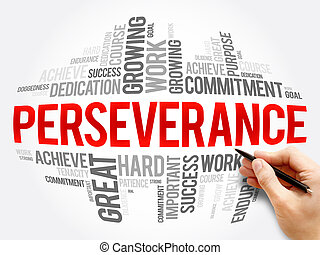 Perseverance word cloud collage, business concept background