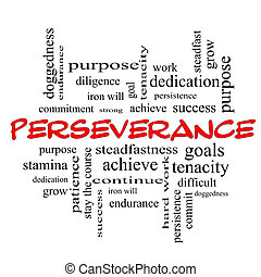 Perseverance Word Cloud Concept in red caps with great terms...
