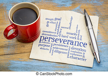 perseverance word cloud on napkin