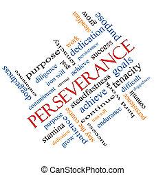 perseverancia, concepto, palabra, nube, angular