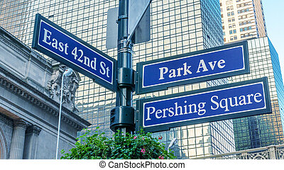 Pershing Square street sign in New York