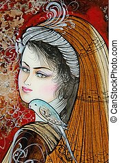 painting on wood of a beautiful persian women with bird