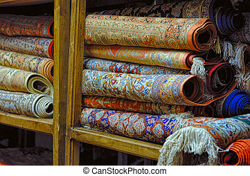 Persian carpets - Rolls of persian carpets in Iran