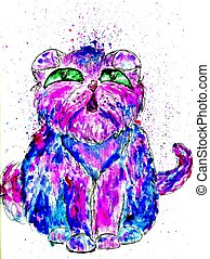 Persian Cat Sketch - Grunge sketch of a cute Persian cat,...