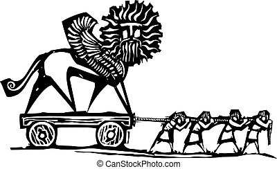 Woodcut style expressionist image of slaves hauling a winged chimera statue.