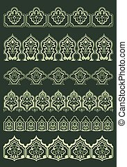 Persian floral borders with oriental decorative elements