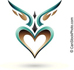 Persian Green Bird Like Winged Heart with a Shadow Vector Illustration