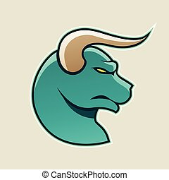 Persian Green Cartoon Bull Icon Vector Illustration