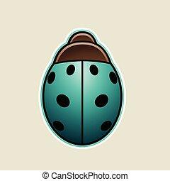 Persian Green Cartoon Ladybug Icon Vector Illustration