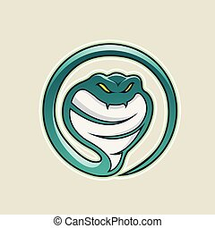 Persian Green Cobra Snake Cartoon Icon Vector Illustration