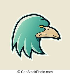 Persian Green Eagle Head Cartoon Icon Vector Illustration