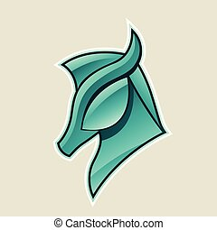 Persian Green Glossy Horse Head Icon Vector Illustration