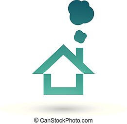 Persian Green House and Smoke Icon Vector Illustration
