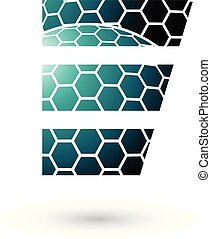 Persian Green Letter E with Honeycomb Pattern Vector...