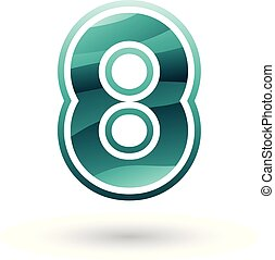 Persian Green Round Icon for Number 8 Vector Illustration -...
