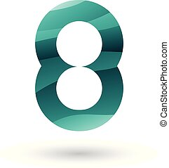 Persian Green Round Icon for Number 8 Vector Illustration