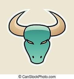 Persian Green Strong Bull Icon Vector Illustration