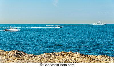 Persian Gulf near Palm Jumeirah island in Dubai, UAE