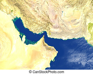 Persian Gulf on planet Earth - Persian Gulf. 3D illustration...