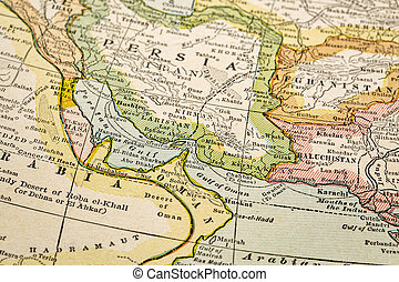 Persian Gulf on vintage map - Persian Gulf region a on...