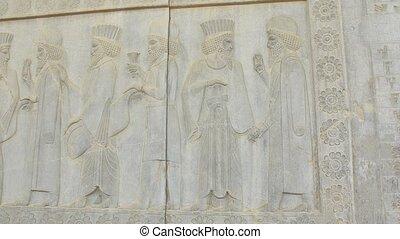 Persian noblemen relief detail Persepolis - Persian noblemen...