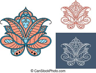 Persian paisley flower with retro ornament