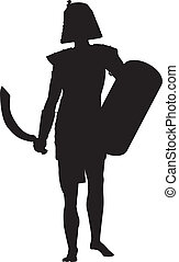 Persian warrior with sword and shield detailed vector silhouette. EPS 8