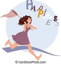 persiguiendo, felicidad