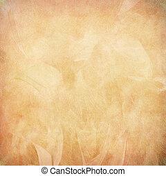persika, fjäder, abstrakt, på, papper