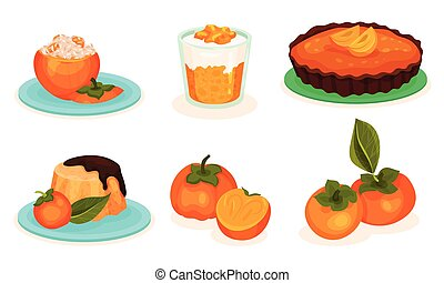 Persimmon Desserts Collection, Stuffed and Whole Fruits, Pudding, Pie, Vector Illustration