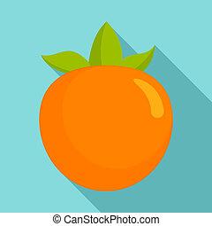 Persimmon fruit icon, flat style