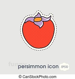 Persimmon icon. Persimmon tropical fruit