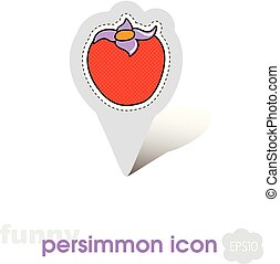 Persimmon pin map icon. Persimmon tropical fruit