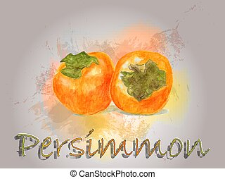 Persimmon watercolor vector food illustration.