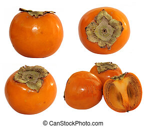 Fresh persimmon on a white background
