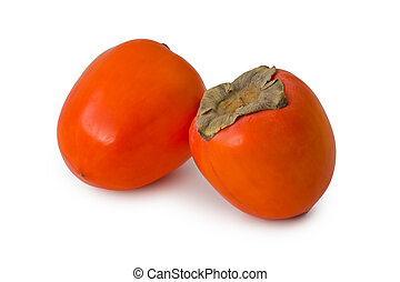 Two ripe hachiya persimmons against a white background.